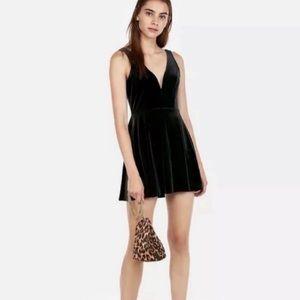 NWT EXPRESS Black Velvet Deep V-Wire Swing Dress